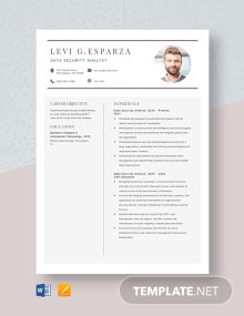 Data Security Analyst Resume Template