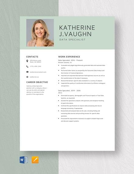 Data Specialist Resume
