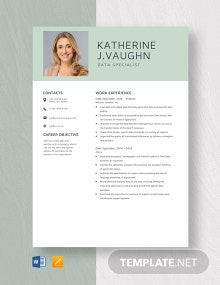 Data Specialist Resume Template Template