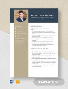 Data Warehouse Developer Resume Template