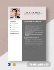 Data Warehouse Project Manager Resume Template