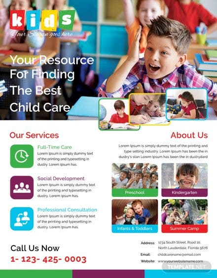 Free Print Shop Flyer Template In Adobe Photoshop Microsoft Word - Child care flyer template