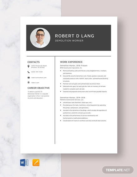 Demolition Worker Resume Template