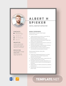 Dental Assistant Instructor Resume Template