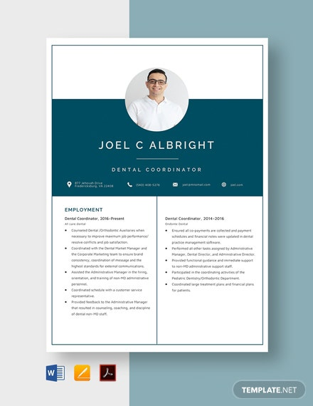 Dental Coordinator Resume Template