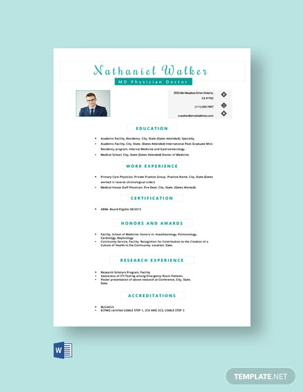 Free MD Physician Resume Template