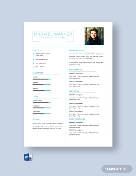 Free Clean Fresher Resume Template