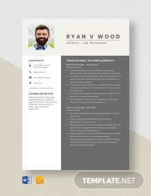 Dental Lab Manager Resume Template