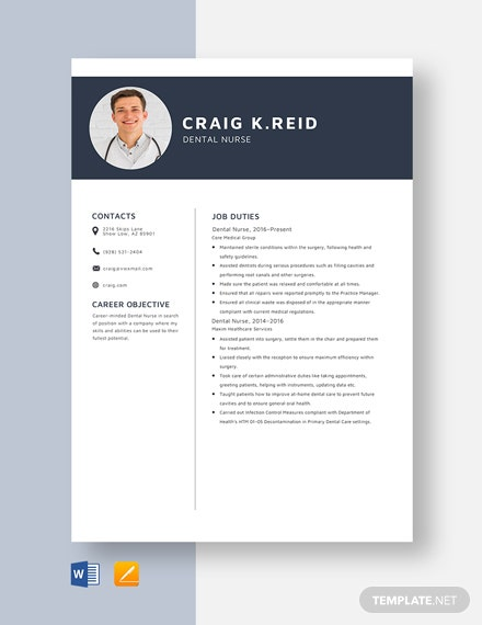 Dental Nurse Resume Template