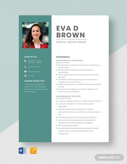 Dental Receptionist Resume Template