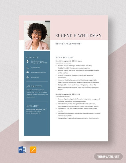Dentist Receptionist Resume Template