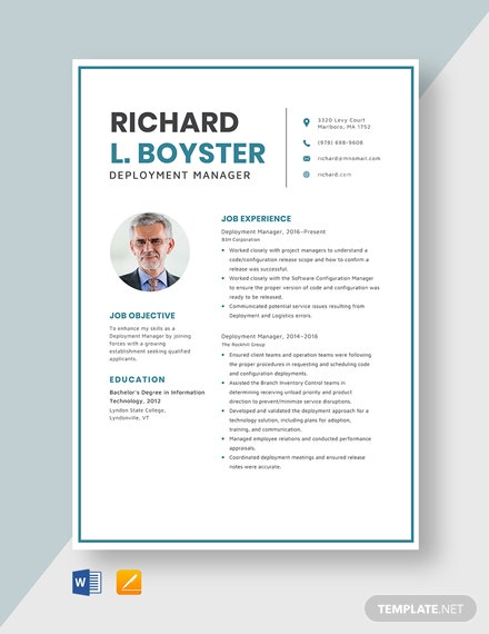 Deployment Manager Resume Template