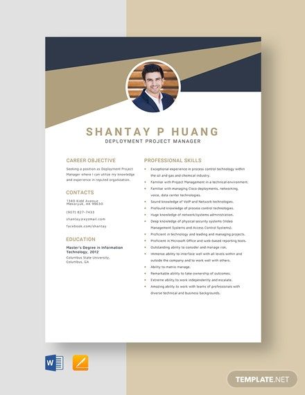 Deployment Project Manager Resume Template