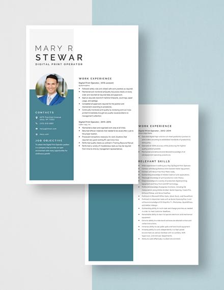 Digital Print Operator Resume Download