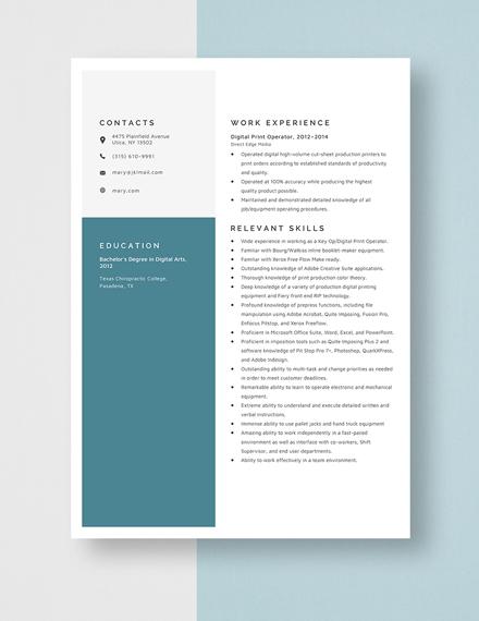 Digital Print Operator Resume Template