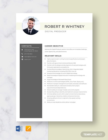 Digital Producer Resume Template