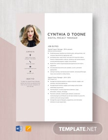Digital Project Manager Resume Template