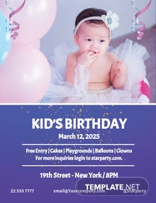 Free Kid's Birthday Party Flyer Template