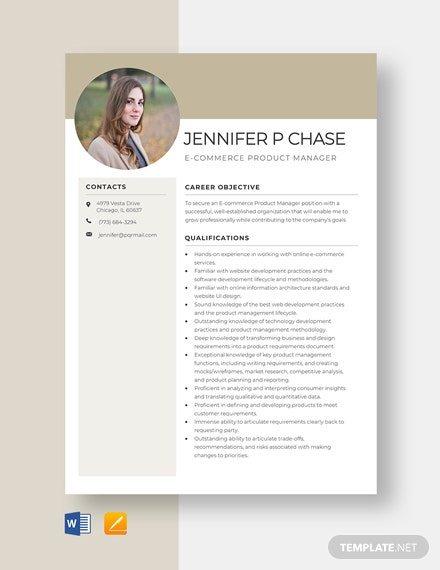 Ecommerce Product Manager Resume Template