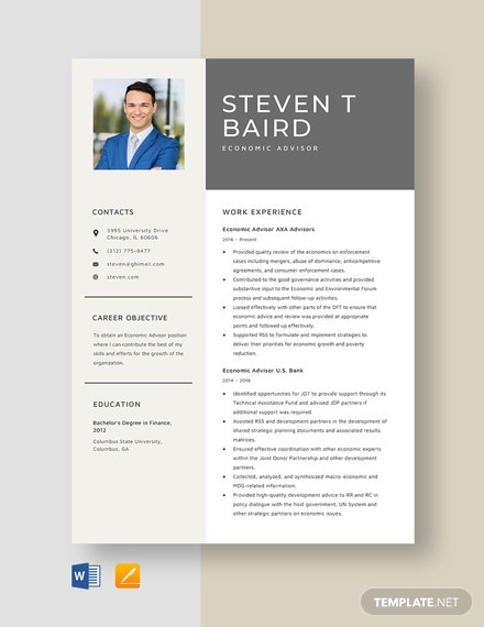 Economic Advisor Resume Template
