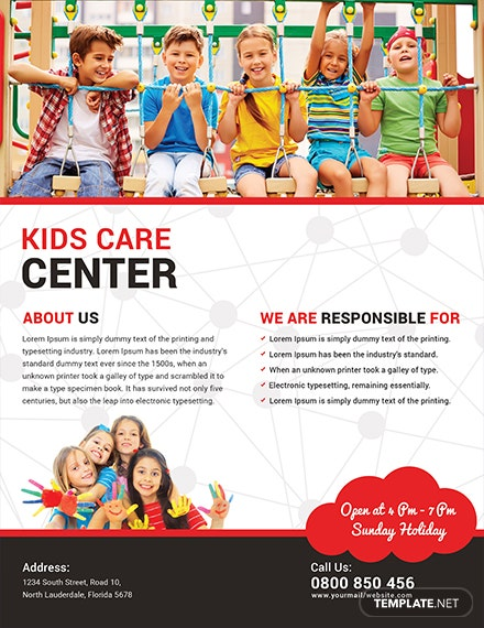 Free Kid's Care Flyer Template
