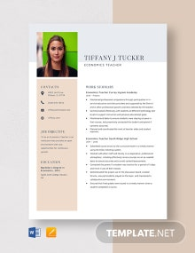 Economics Teacher Resume Template