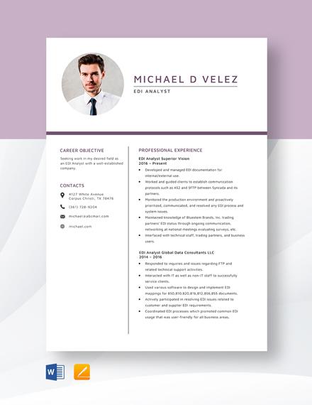 EDI Analyst Resume Template