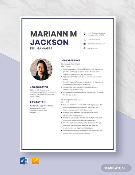EDI Manager Resume Template