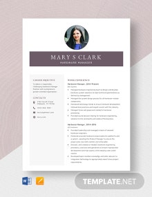 Hardware Manager Resume Template