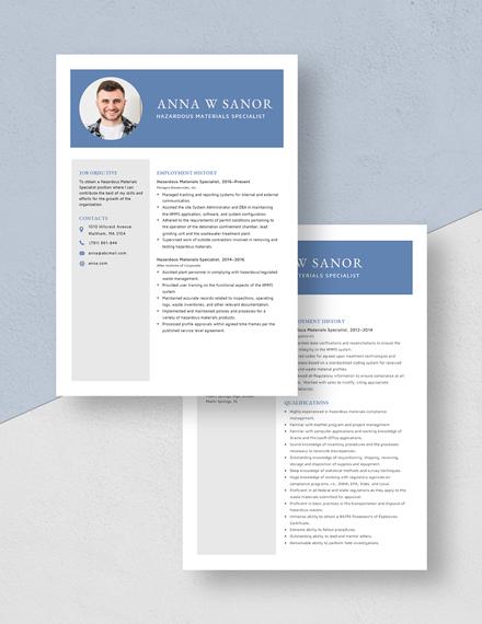 Hazardous Materials Specialist Resume Download