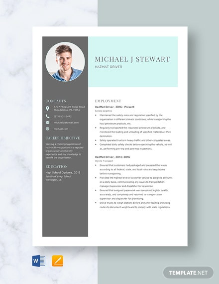 FREE Driver Resume Cover Letter Template - Word | Google ...