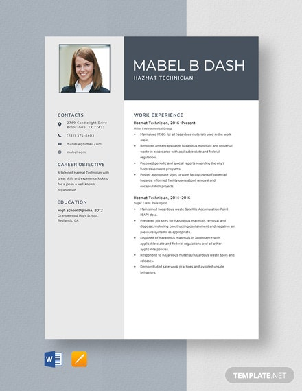 Hazmat Technician Resume Template
