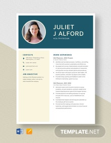 HCA Physician Resume Template