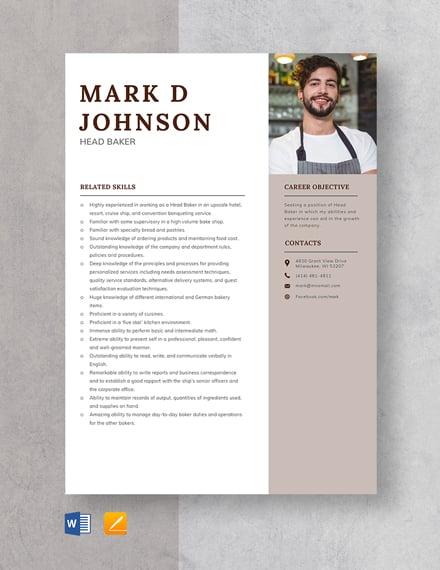 head baker resume template