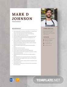 Head Baker Resume Template