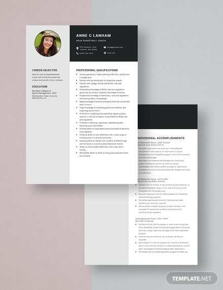 Head BasketBall Coach Resume Download