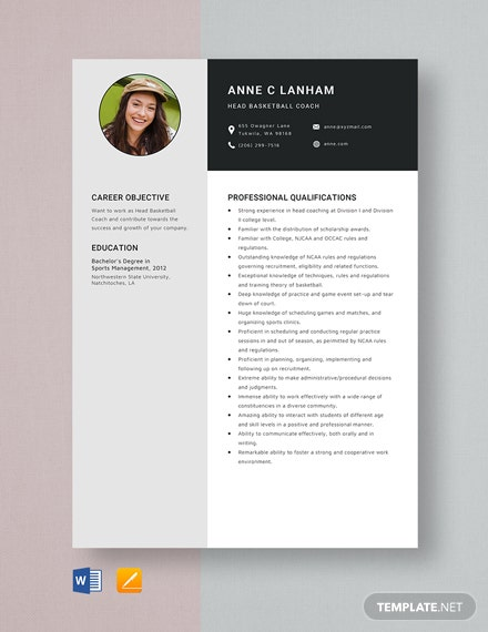 Head BasketBall Coach Resume Template