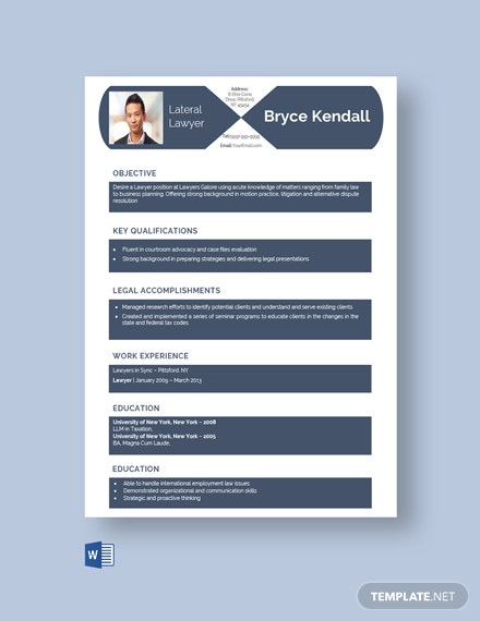 Free Lateral Lawyer Resume Template