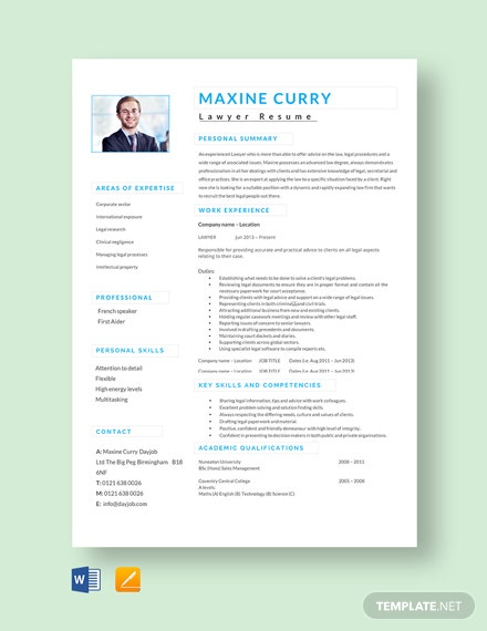 Free Experienced Lawyer Resume Template