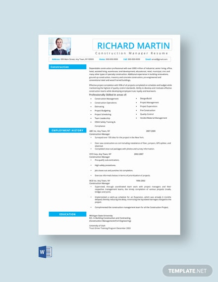 Construction Manager Resume Template  - Word