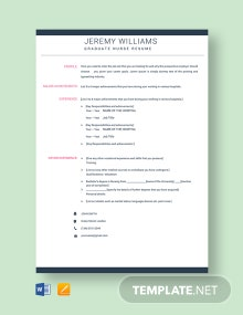 Free Graduate Nurse Resume Template