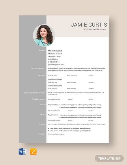 Free ICU Nurse Resume Template
