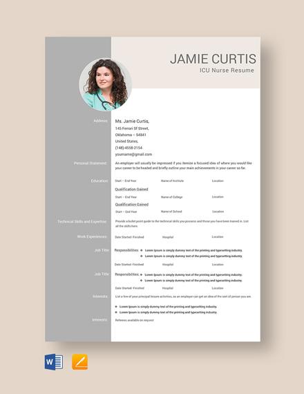 Free ICU Nurse Resume Template