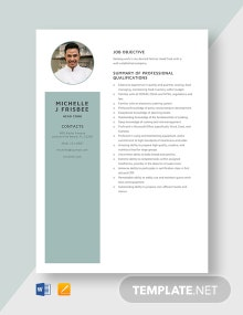 Head Cook Resume Template