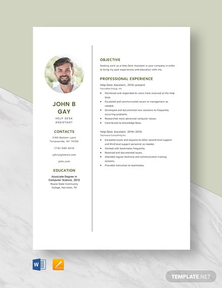 Help Desk Assistant Resume Template