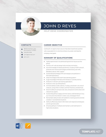Help Desk Coordinator Resume Template