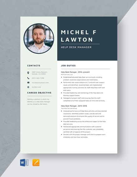 Help Desk Manager Resume Template