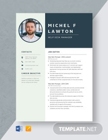 Help Desk Manager Resume Template
