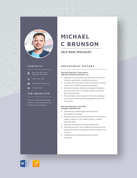 Help Desk Specialist Resume Template
