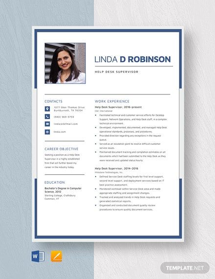 Help Desk Supervisor Resume Template